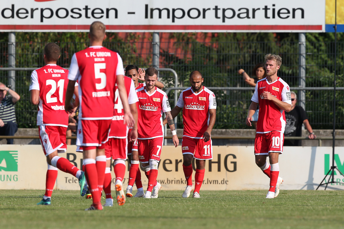 Kenny Prince Redondo of 1. FC Union Berlin celebrates scoring his side's 1st goal during the Pre-season Friendly match at Stadium Laumeskamp, Delbruck. Picture by Paul Chesterton/Focus Images Ltd +44 7904 640267 17/07/2018