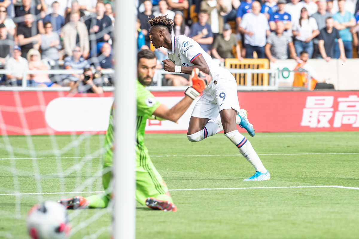 Tammy Abraham of Chelsea scores his sides fourth goal and his third past Wolverhampton Wanderers goalkeeper Rui Patricio during the Premier League match at Molineux, Wolverhampton Picture by Matt Wilkinson/Focus Images Ltd 07814 960751 14/09/2019