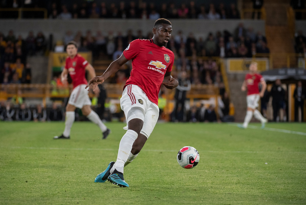 Paul Pogba of Manchester United collects the ball during the Premier League match at Molineux, Wolverhampton Picture by Russell Hart/Focus Images Ltd 07791 688 420 19/08/2019