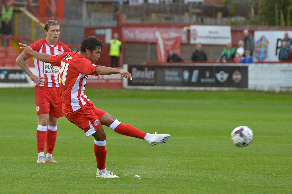 Gerardo Bruna of Accrington Stanley shoots at goal during the Capital One Cup match at the Fraser Eagle Stadium, Accrington Picture by Ian Wadkins/Focus Images Ltd +44 7877 568959 11/08/2015