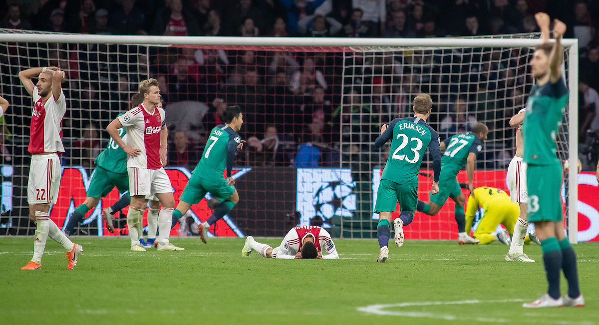 ***NETHERLANDS OUT*** Lucas Moura scores 2-3 Ajax Amsterdam and Tottenham Hotspur during the UEFA Champions League Semi-Final match at Amsterdam Arena, Amsterdam Picture by Sjoerd Tullenaar/Focus Images Ltd +31655744888 08/05/2019