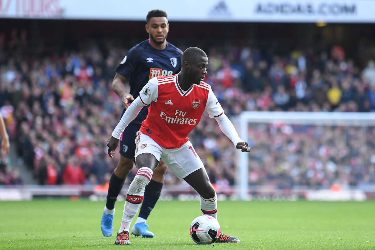 Nicolas Pepe of Arsenal during to the Premier League match at the Emirates Stadium, London Picture by Martyn Haworth/Focus Images Ltd 07463250714 06/10/2019