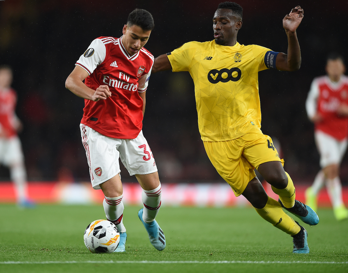 Arsenal's Gabriel Martinelli and Standard de Liege's Dimitri Lavalee battle for the ball during the UEFA Europa League match at the Emirates Stadium, London Picture by Daniel Hambury/Focus Images Ltd 07813022858 03/10/2019