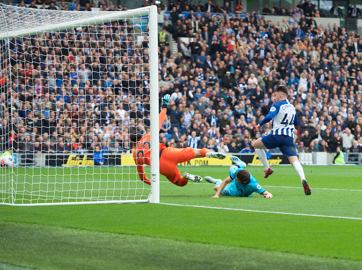 Aaron Connolly of Brighton & Hove Albion scores his side's 2nd goal during the Premier League match at the American Express Community Stadium, Brighton and Hove Picture by Alan Stanford/Focus Images Ltd +44 7915 056117 05/10/2019