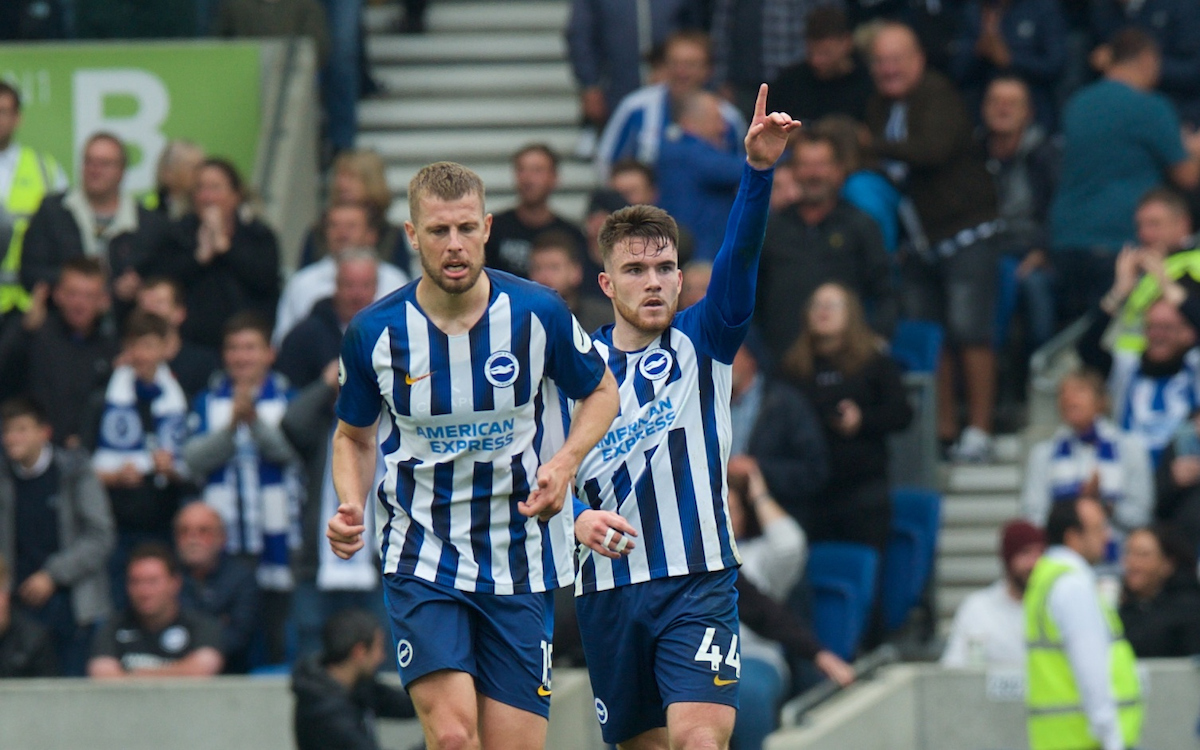 Aaron Connolly of Brighton & Hove Albion celebrates after scores his side's 3rd goal during the Premier League match at the American Express Community Stadium, Brighton and Hove Picture by Alan Stanford/Focus Images Ltd +44 7915 056117 05/10/2019