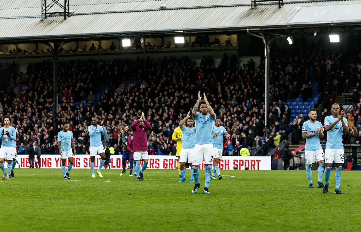 The Manchester City players applaud the travelling fans after the Premier League match at Selhurst Park, London Picture by Liam McAvoy/Focus Images Ltd 07413 543156 31/12/2017