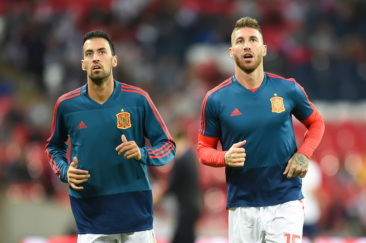 Sergio Busquets and Sergio Ramos of Spain warm up ahead of  the UEFA Nations League match at Wembley Stadium, London Picture by Martyn Haworth/Focus Images Ltd 07463250714 08/09/2018