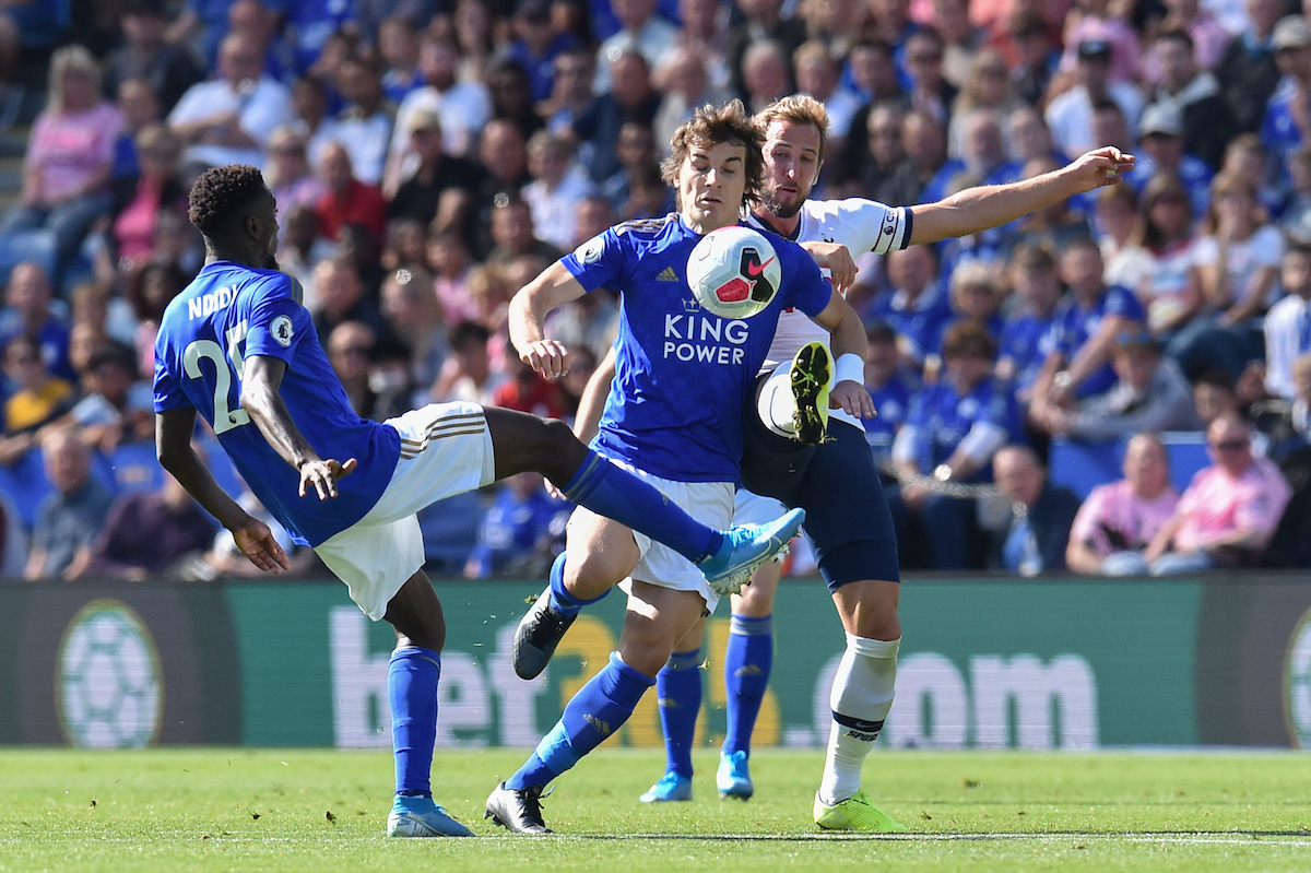 Çaglar Soyuncu of Leicester City is challenged by Harry Kane of Tottenham Hotspur during the Premier League match at the King Power Stadium, Leicester Picture by Martyn Haworth/Focus Images Ltd 07463250714 21/09/2019