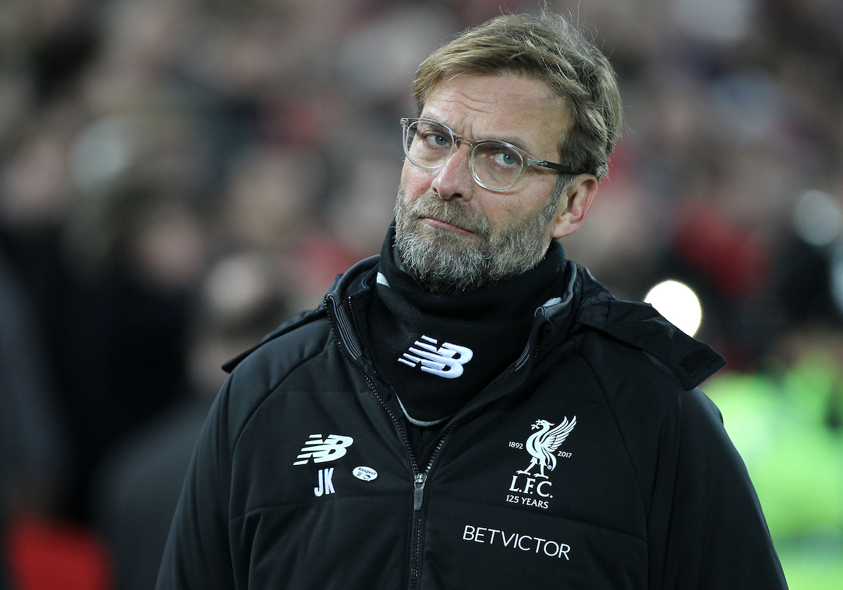 Jurgen Klopp manager of Liverpool on the touchline prior to the FA Cup match against Everton at Anfield, Liverpool. Picture by Michael Sedgwick/Focus Images Ltd +44 7900 363072 05/01/2018