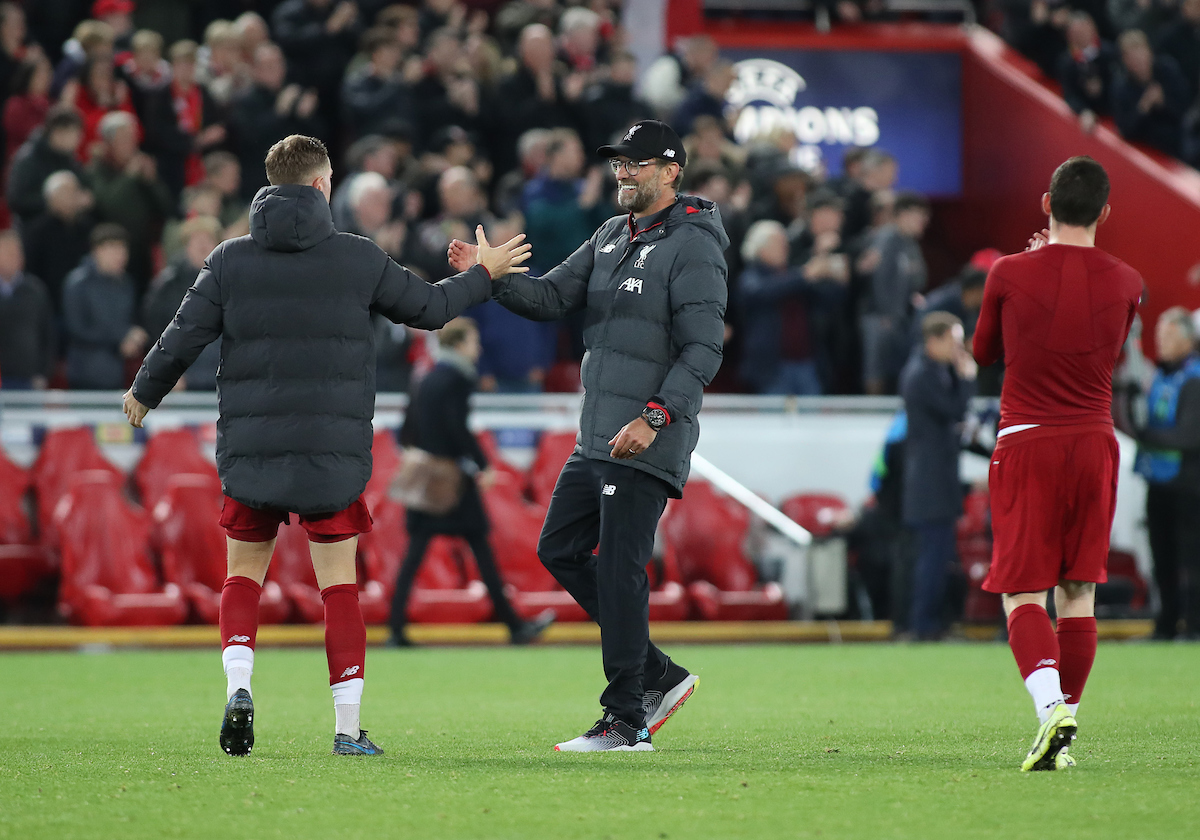 Jurgen Klopp manager of Liverpool congratulates Jordan Henderson after the UEFA Champions League match against Red Bull Salzburg at Anfield, Liverpool. Picture by Michael Sedgwick/Focus Images Ltd +44 7900 363072 02/10/2019