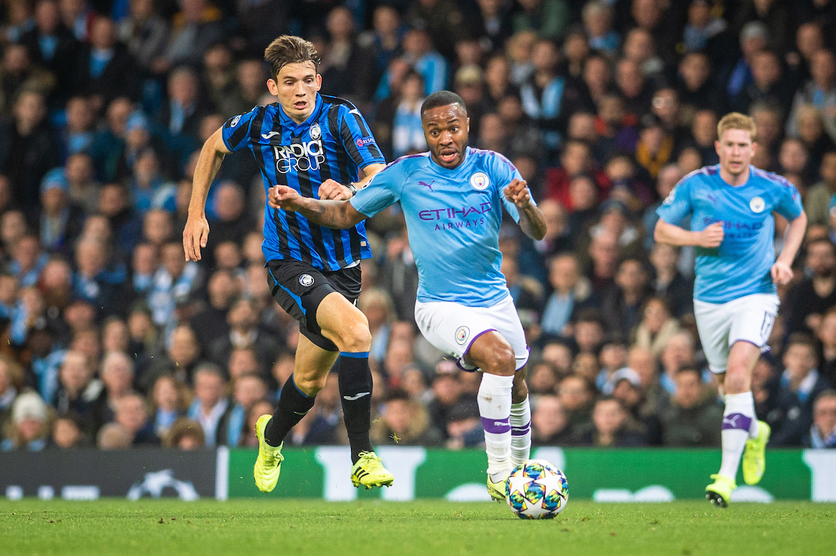 Raheem Sterling of Manchester City holds off Marten de Roon of Atalanta BC during the UEFA Champions League match at the Etihad Stadium, Manchester Picture by Matt Wilkinson/Focus Images Ltd 07814 960751 22/10/2019