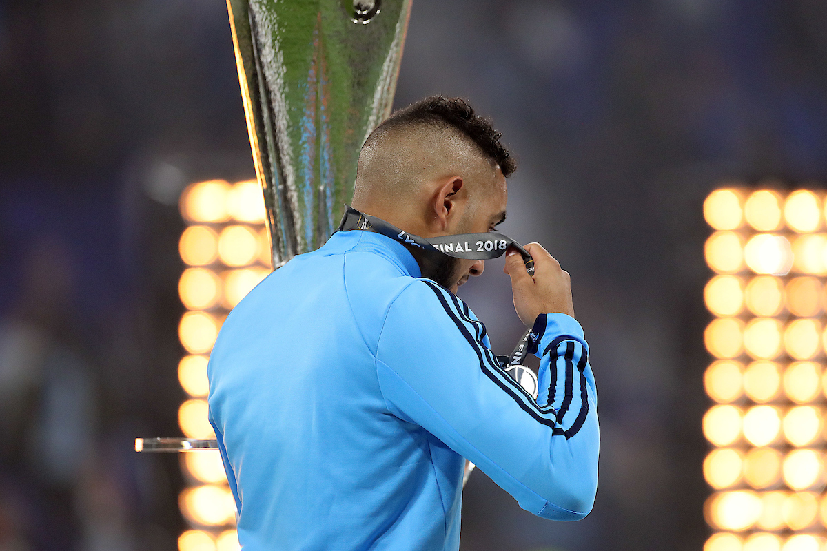 Dimitri Payet of Marseille looks dejected and removes his losers medal at the end of the UEFA Europa League Final match at Stade de Lyons, Lyons Picture by Paul Chesterton/Focus Images Ltd +44 7904 640267 16/05/2018