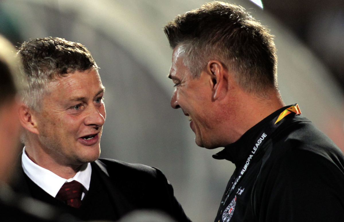 Savo Milosevic, Partizan Belgrade coach, with Ole Gunnar Solskjaer Manchester United coach during the UEFA Europa League match at Partizan Stadium, Savski VenacPicture by Aleksandar Djorovic/Focus Images Ltd +38163711483324/10/2019