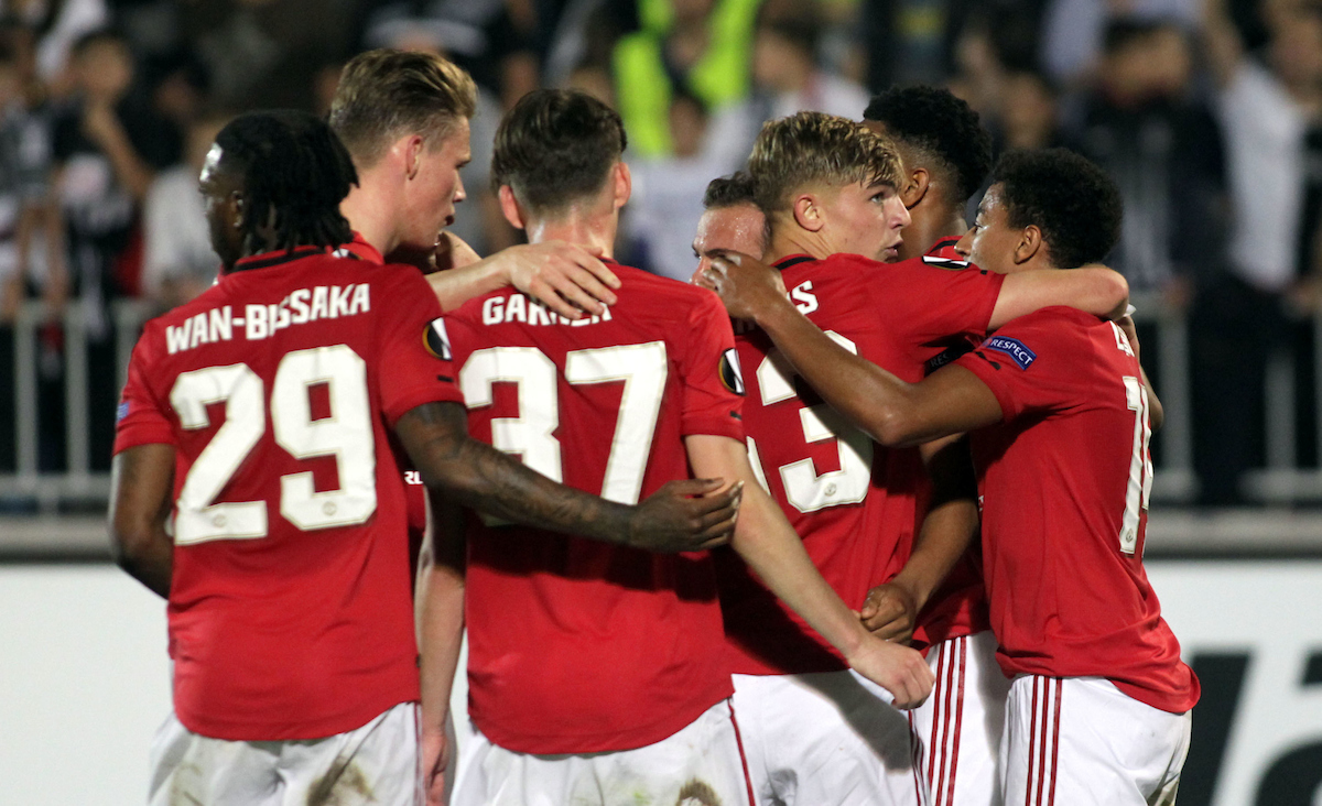 Anthony Martial celebrates wirth team mates after scoring their first goal during the UEFA Europa League match at Partizan Stadium, Savski VenacPicture by Aleksandar Djorovic/Focus Images Ltd +38163711483324/10/2019