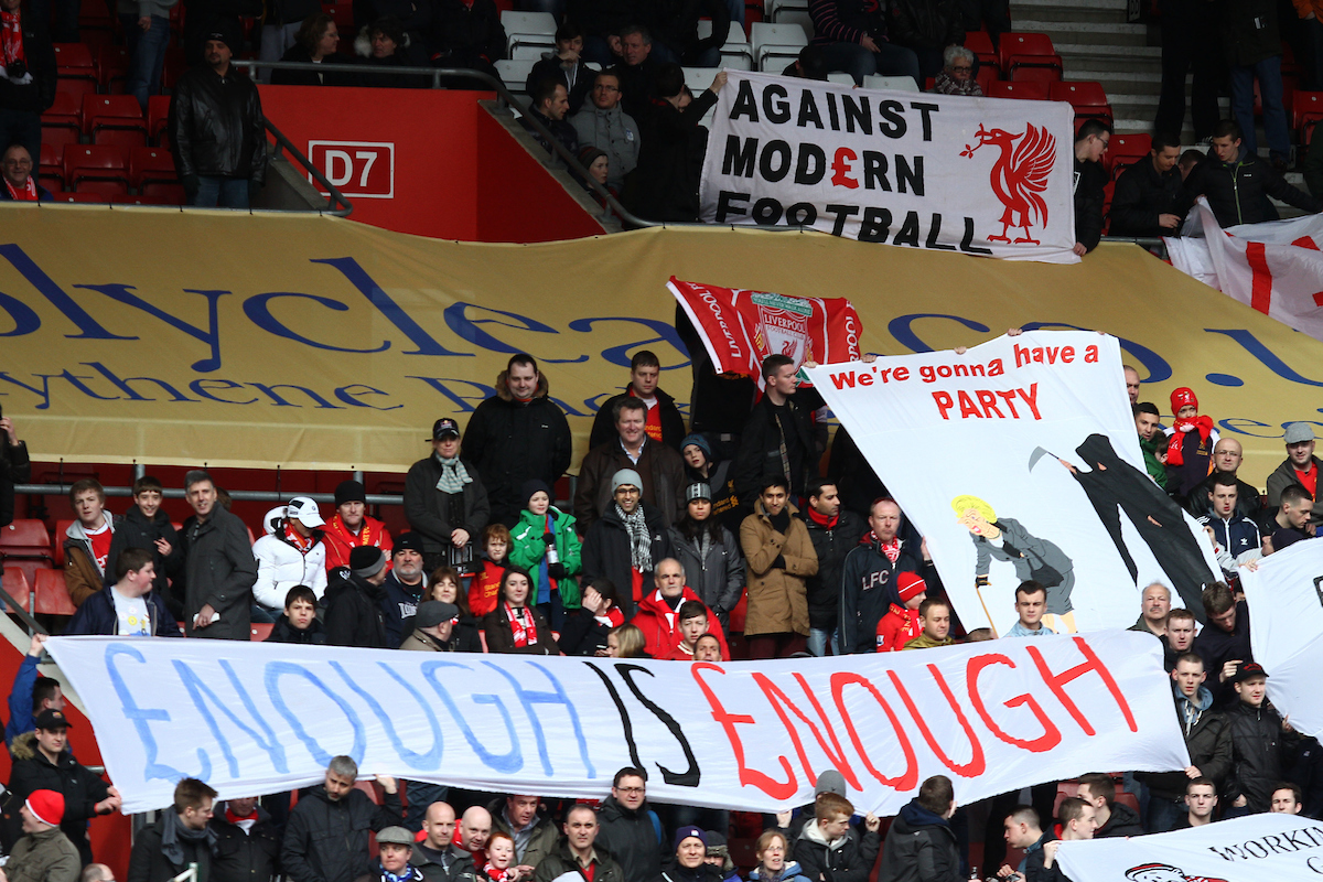 Picture by Daniel Chesterton/Focus Images Ltd +44 7966 018899.16/03/2013.Liverpool fans display banners against modern football and high ticket prices before the Barclays Premier League match at the St Mary's Stadium, Southampton.