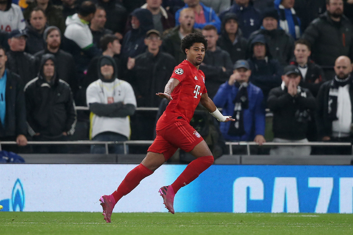 Serge Gnabry of Bayern Munich celebrates scoring his side's 4th goal during the UEFA Champions League match at Tottenham Hotspur Stadium, London Picture by Paul Chesterton/Focus Images Ltd +44 7904 640267 01/10/2019