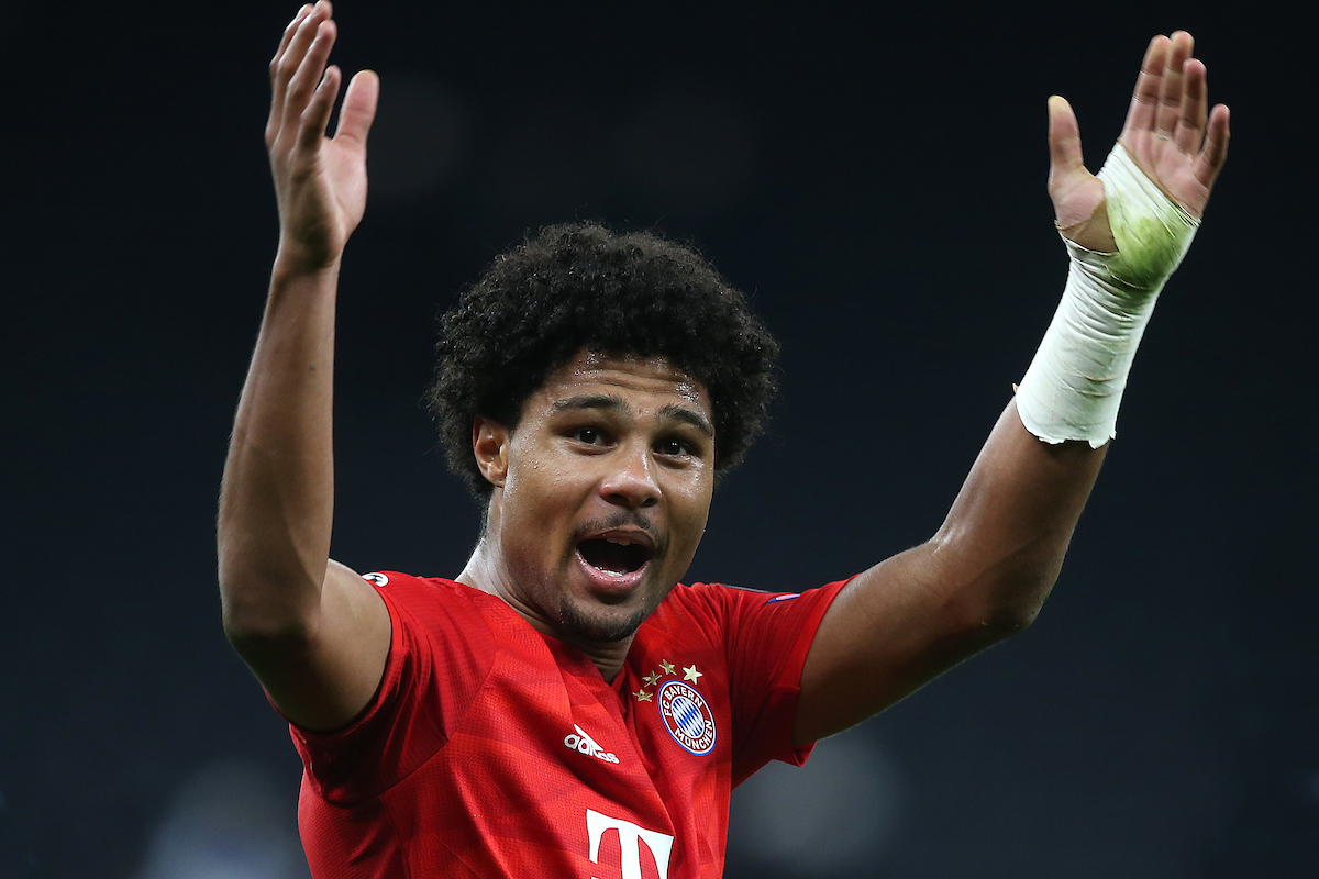 Four goal hero Serge Gnabry of Bayern Munich celebrates victory at the end of the UEFA Champions League match at Tottenham Hotspur Stadium, London Picture by Paul Chesterton/Focus Images Ltd +44 7904 640267 01/10/2019