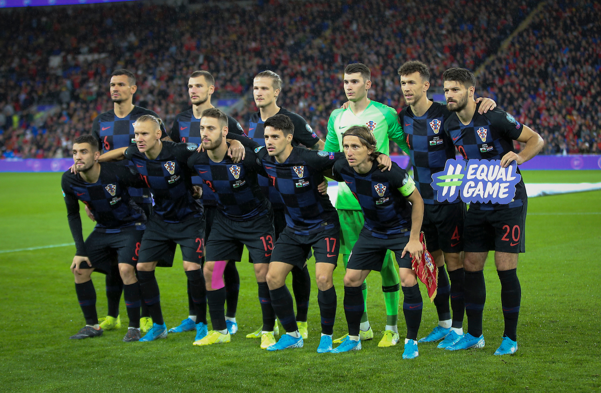 The Croatian squad line up before the UEFA Euro 2020 Qualifiers match at the Cardiff City Stadium, Cardiff Picture by Mike Griffiths/Focus Images Ltd +44 7766 223933 13/10/2019