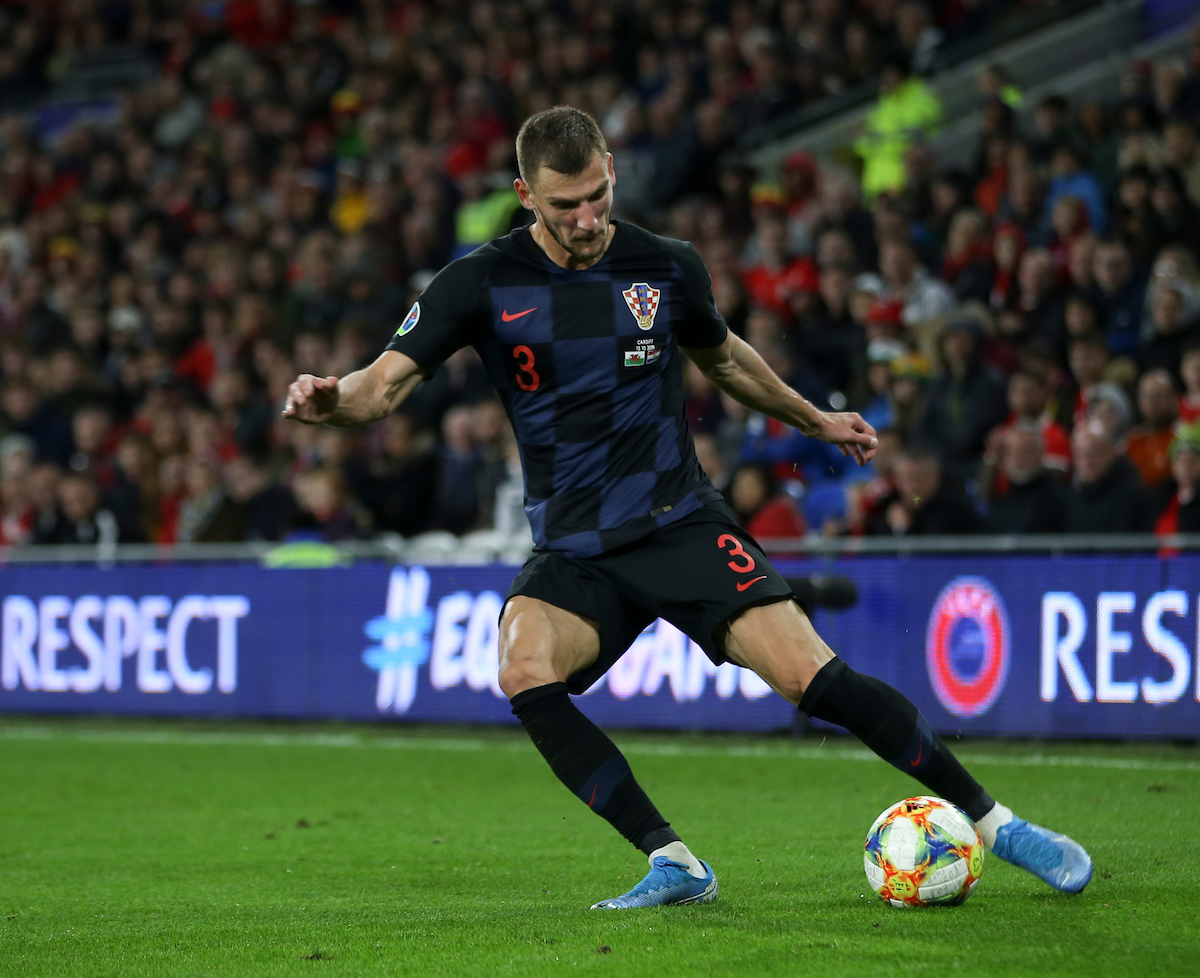Borna Barisic of Croatia during the UEFA Euro 2020 Qualifiers match at the Cardiff City Stadium, Cardiff Picture by Mike Griffiths/Focus Images Ltd +44 7766 223933 13/10/2019