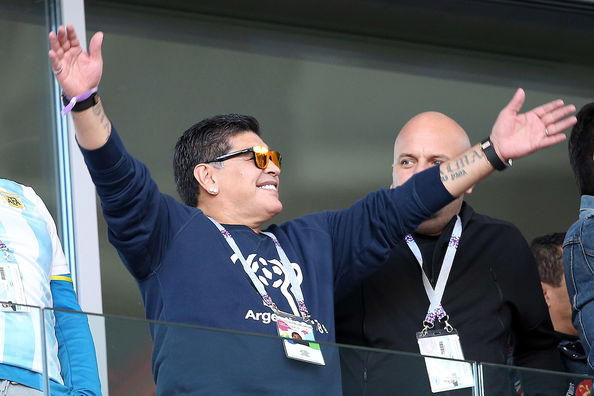 Diego Maradona pictured before the 2018 FIFA World Cup match at Spartak Stadium, Moscow Picture by Paul Chesterton/Focus Images Ltd +44 7904 640267 16/06/2018