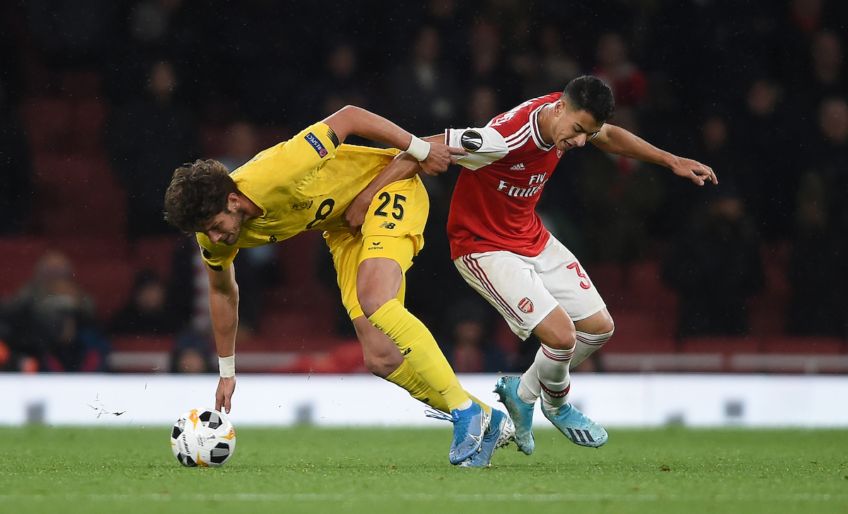 Standard de Liege's Felipe Avenatti and Arsenal's Gabriel Martinelli battle for the ball during the UEFA Europa League match at the Emirates Stadium, London Picture by Daniel Hambury/Focus Images Ltd 07813022858 03/10/2019