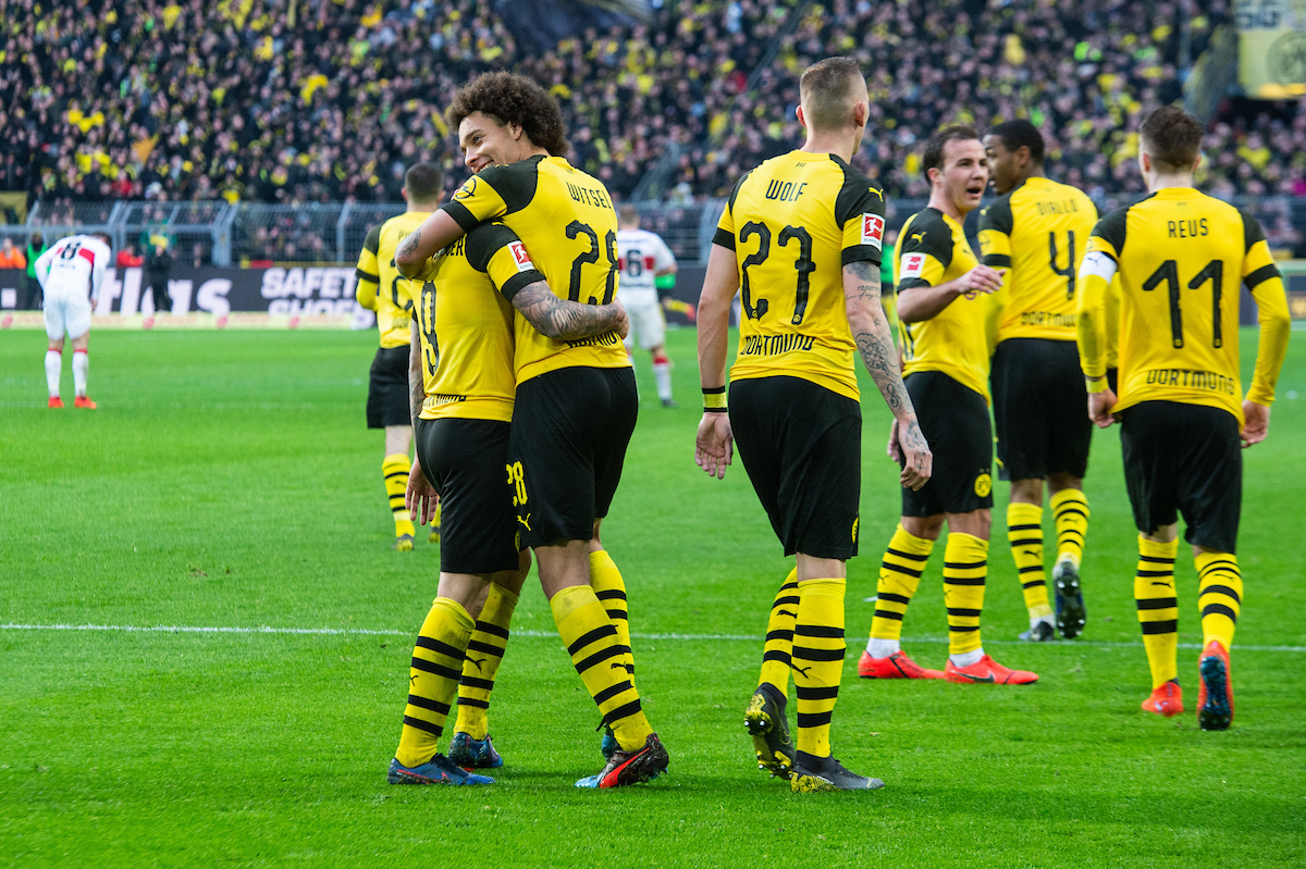 Axel Witsel of Borussia Dortmund congratulates Paco Alcacer of Borussia Dortmund (left) after scoring his sides second goal during the Bundesliga match at Signal Iduna Park, Dortmund Picture by Matt Wilkinson/Focus Images Ltd 07814 960751 09/03/2019