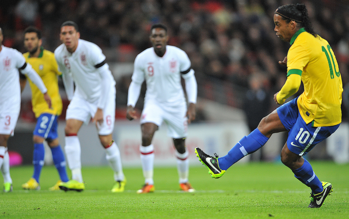 Picture by Daniel Hambury/Focus Images Ltd +44 7813 022858.06/02/2013.Ronaldinho of Brazil misses a penalty during the Friendly match at Wembley Stadium, London.