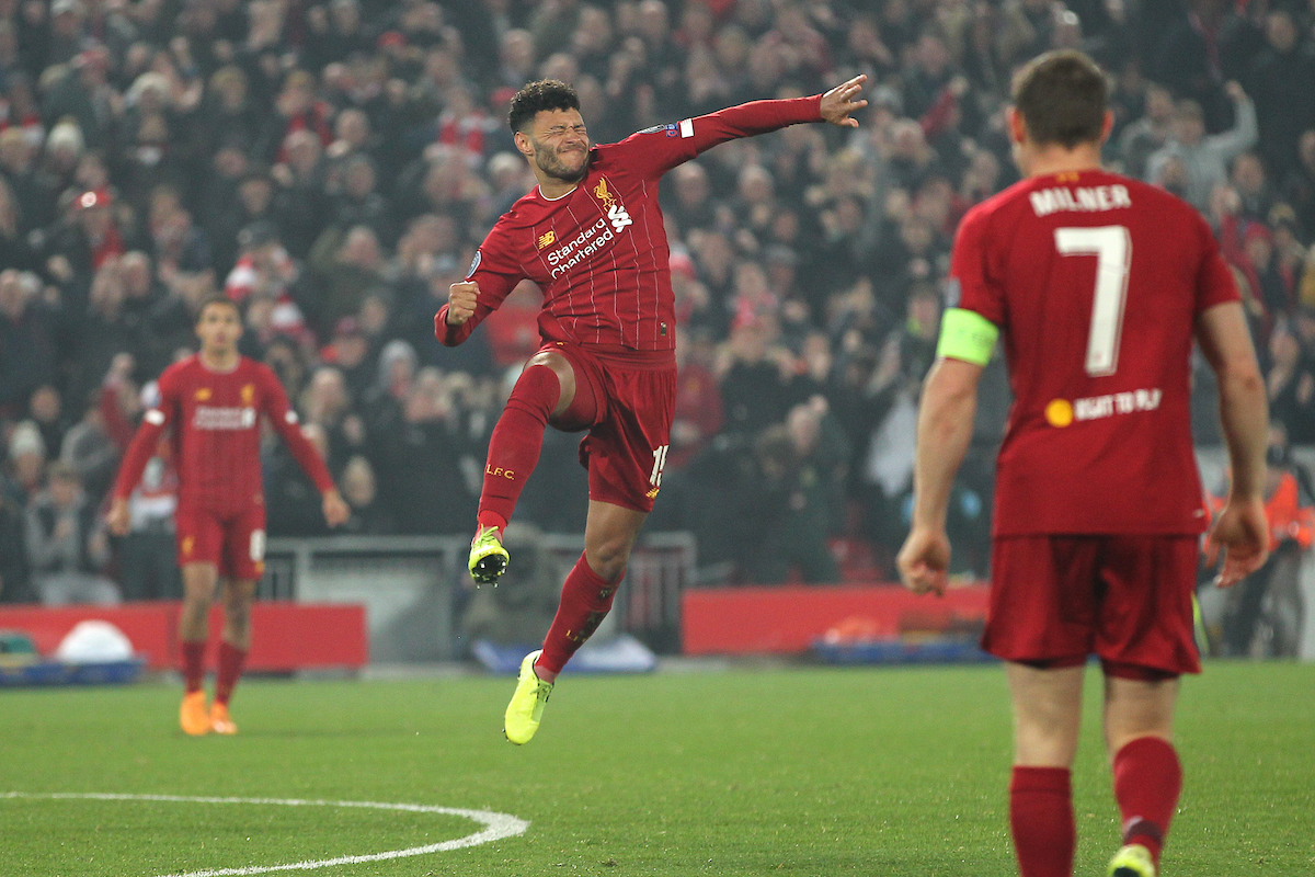 Alex Oxlade-Chamberlain of Liverpool celebrates scoring the second goal against Racing Genk during the UEFA Champions League match at Anfield, Liverpool. Picture by Michael Sedgwick/Focus Images Ltd +44 7900 363072 05/11/2019