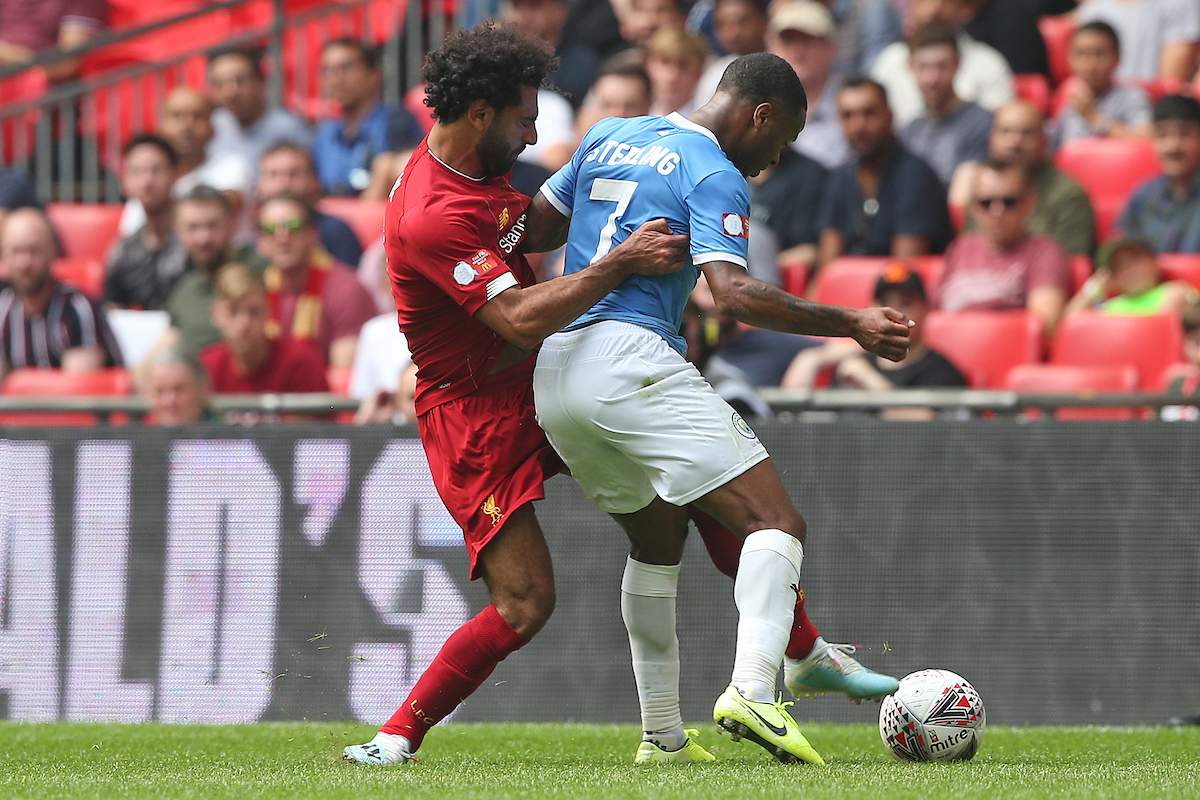 Mo Salah of Liverpool and Raheem Sterling of Manchester City in action during the FA Community Shield match at Wembley Stadium, London Picture by Paul Chesterton/Focus Images Ltd +44 7904 640267 04/08/2019