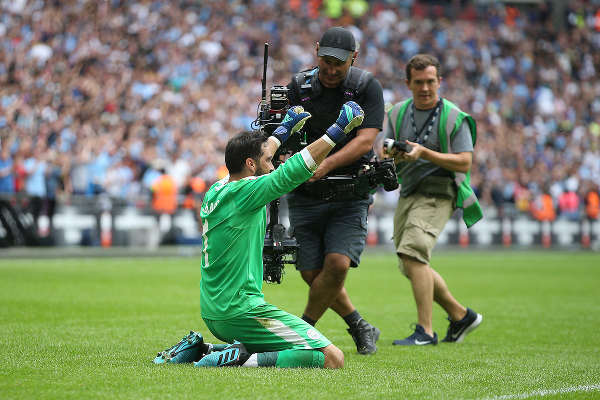 Claudio Bravo of Manchester City celebrates victory at the end of the FA Community Shield match at Wembley Stadium, London Picture by Paul Chesterton/Focus Images Ltd +44 7904 640267 04/08/2019