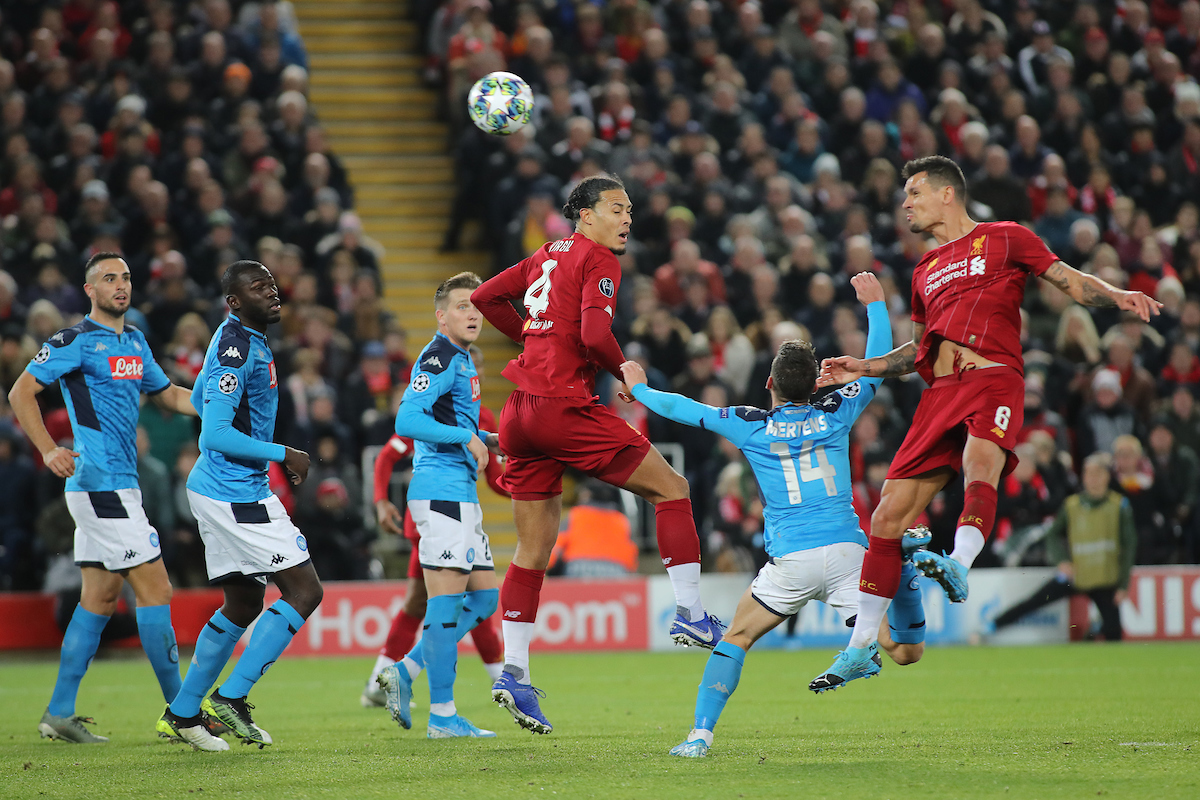 Dejan Lovren of Liverpool scores the first goal against Napoli during the UEFA Champions League match at Anfield, Liverpool. Picture by Michael Sedgwick/Focus Images Ltd +44 7900 363072 27/11/2019