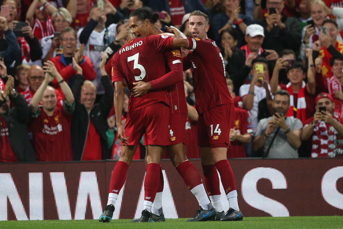 Virgil van Dijk of Liverpool celebrates scoring his side's 3rd goal during the Premier League match at Anfield, Liverpool Picture by Paul Chesterton/Focus Images Ltd +44 7904 640267 09/08/2019