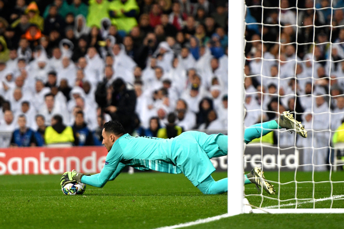 Keylor Navas of Paris Saint-Germain makes a save during the UEFA Champions League match at the Estadio Santiago Bernabeu, Madrid Picture by Kristian Kane/Focus Images Ltd +44 7814 482222 26/11/2019
