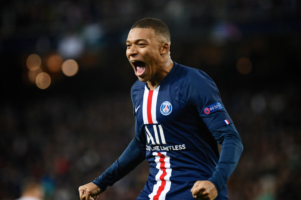 Kylian Mbappé of Paris Saint-Germain celebrates after Pablo Sarabia scoring their second goal to make it Real Madrid 2 Paris Saint-Germain 2 during the UEFA Champions League match at the Estadio Santiago Bernabeu, Madrid Picture by Kristian Kane/Focus Images Ltd +44 7814 482222 26/11/2019
