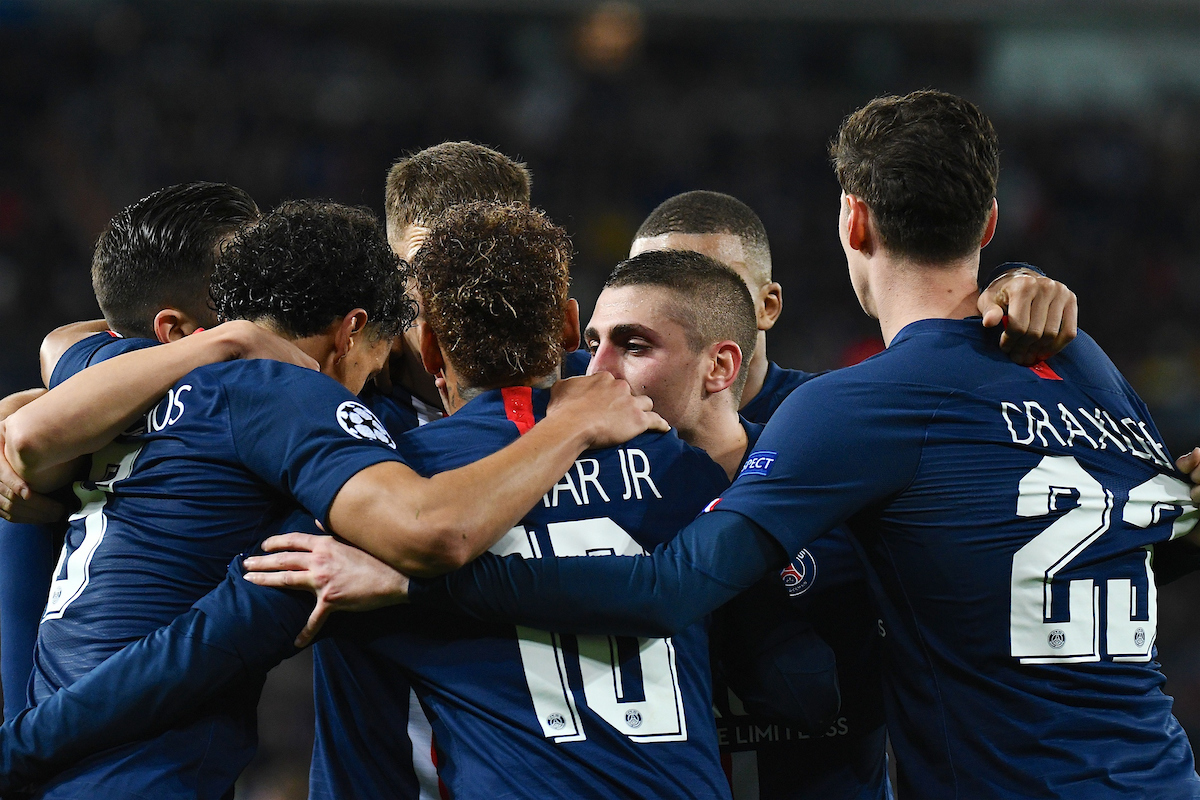 Paris Saint-Germain players celebrate Pablo Sarabia scoring their second goal to make it Real Madrid 2 Paris Saint-Germain 2 during the UEFA Champions League match at the Estadio Santiago Bernabeu, Madrid Picture by Kristian Kane/Focus Images Ltd +44 7814 482222 26/11/2019