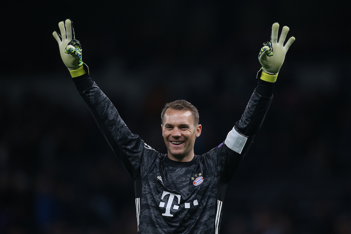 Manuel Neuer of Bayern Munich celebrates his side's 6th goal during the UEFA Champions League match at Tottenham Hotspur Stadium, London Picture by Paul Chesterton/Focus Images Ltd +44 7904 640267 01/10/2019