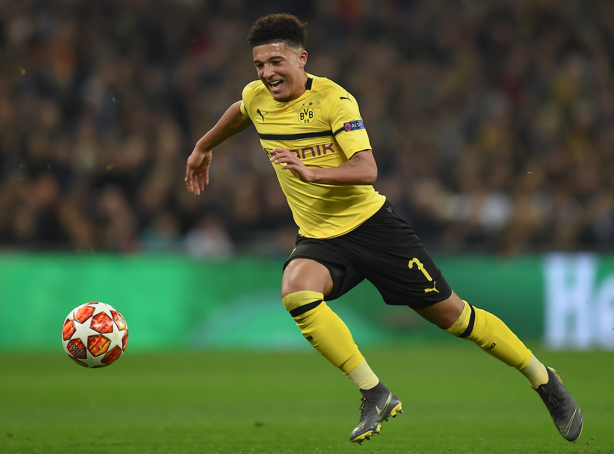 Jadon Sancho of Borussia Dortmund during the UEFA Champions League match at Wembley Stadium, London Picture by Martyn Haworth/Focus Images Ltd 07463250714 13/02/2019