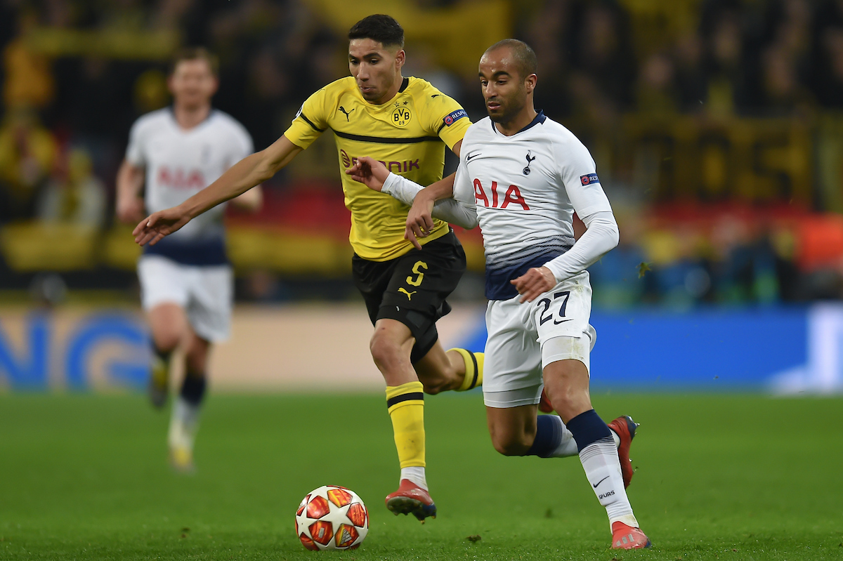 Lucas Moura of Tottenham Hotspur and Achraf Hakimi of Borussia Dortmund during the UEFA Champions League match at Wembley Stadium, London Picture by Martyn Haworth/Focus Images Ltd 07463250714 13/02/2019
