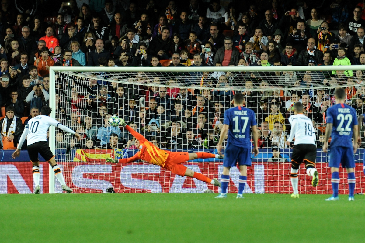 Chelsea goalkeeper Kepa Arrizabalaga saves a penalty from Daniel Parejo of Valencia CF to keep the score at Valencia CF 1 Chelsea 2 during the UEFA Champions League match at Mestalla, Valencia Picture by Kristian Kane/Focus Images Ltd +44 7814 482222 27/11/2019