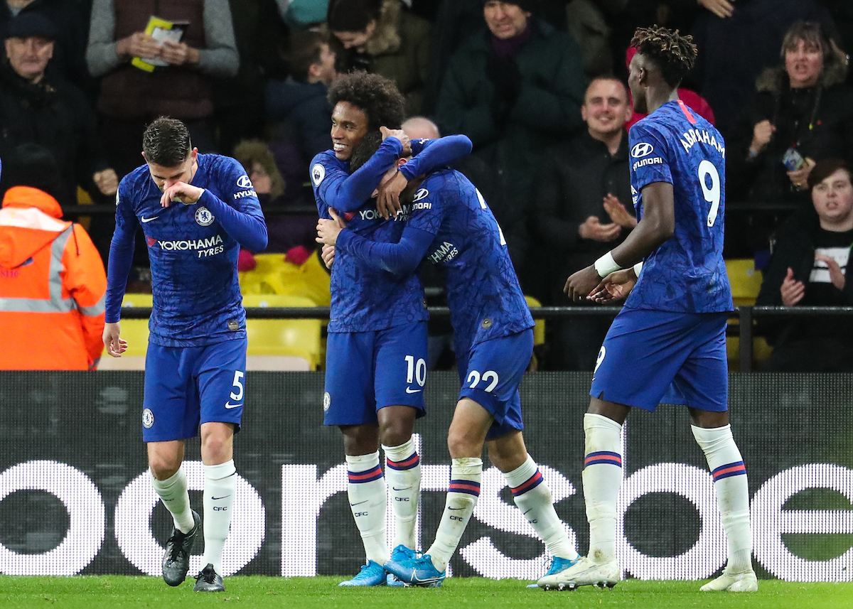 Christian Pulisic of Chelsea is mobbed by team-mates after  scoring during the Premier League match at Vicarage Road, Watford Picture by John Rainford/Focus Images Ltd +44 7506 538356 02/11/2019 of