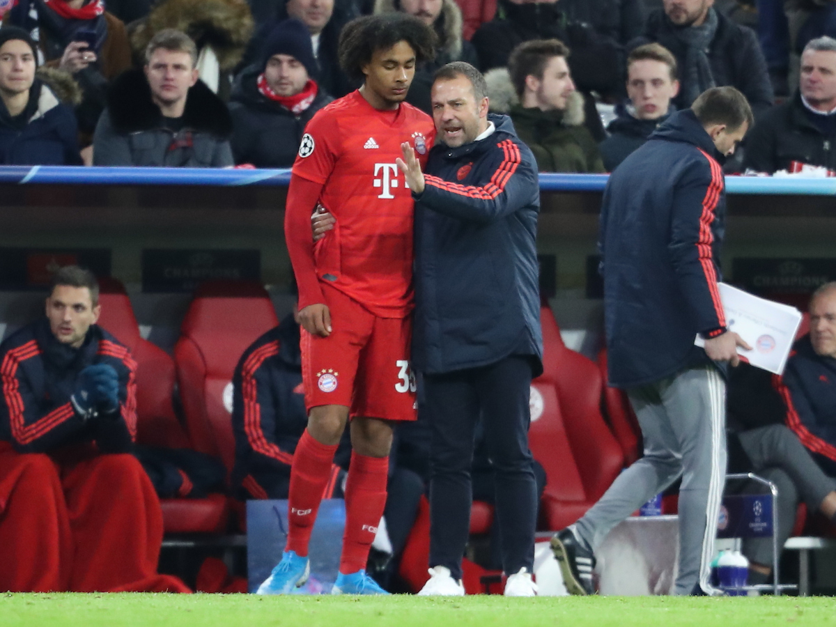 Joshua Zirkzee and Manager Hans-Dieter Flick of Bayern Munich during the UEFA Champions League match at Allianz Arena, Munich Picture by Yannis Halas/Focus Images Ltd +353 8725 82019 11/12/2019