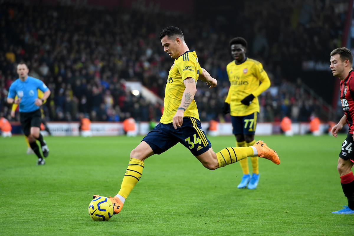 Granit Xhaka of Arsenal shoots during the Premier League match at the Vitality Stadium, Bournemouth Picture by Jeremy Landey/Focus Images Ltd 07747773987 26/12/2019