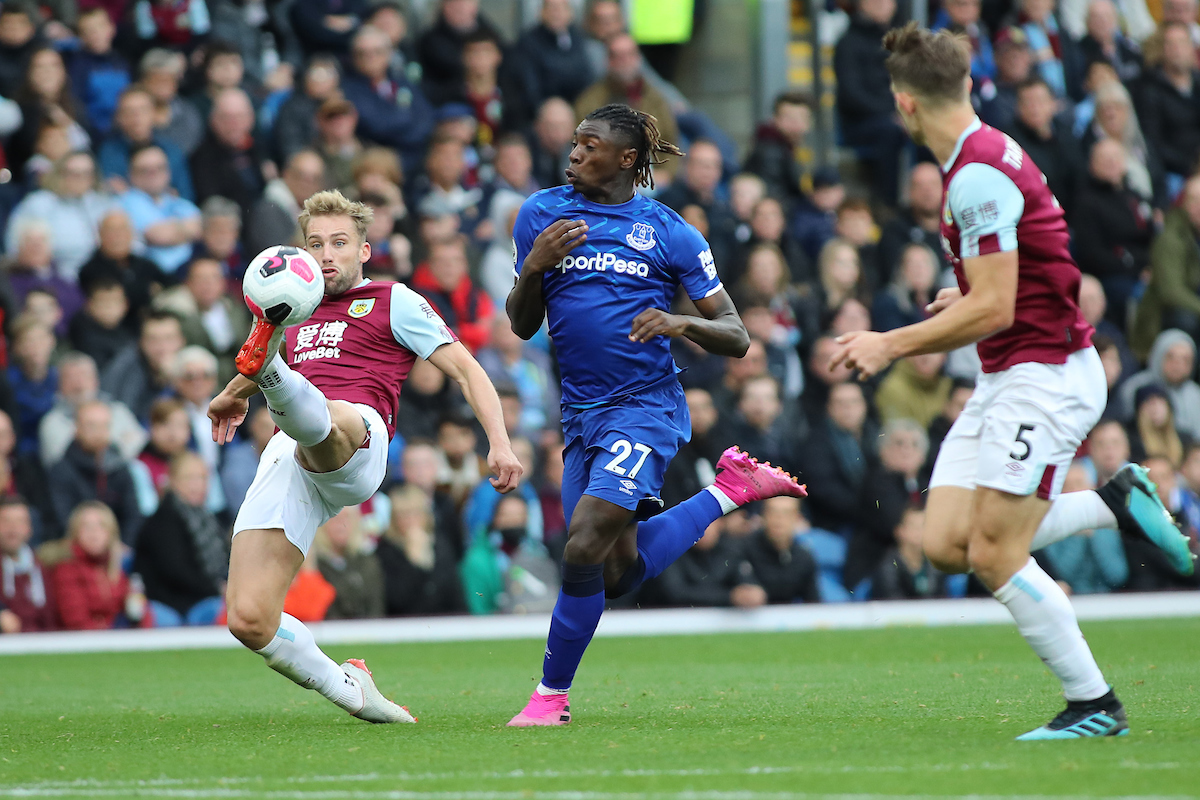 Charlie Taylor of Burnley and Moise Kean of Everton in action during the Premier League match at Turf Moor, Burnley. Picture by Michael Sedgwick/Focus Images Ltd +44 7900 363072 05/10/2019
