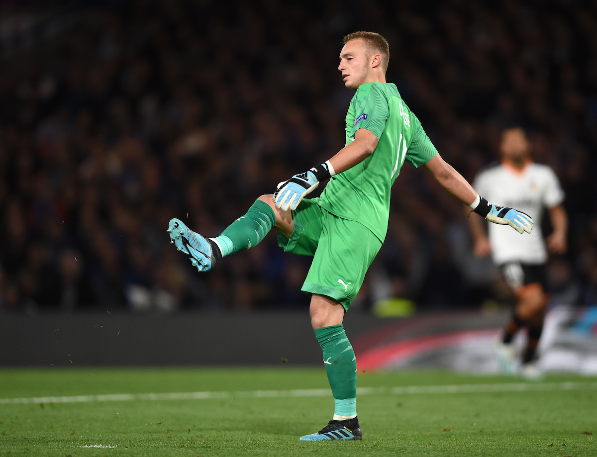 Valencia goal keeper Jasper Cillessen during the UEFA Champions League match at Stamford Bridge, London Picture by Daniel Hambury/Focus Images Ltd 07813022858 17/09/2019