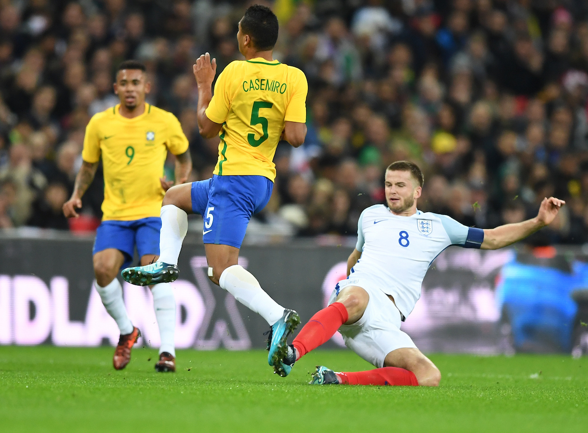Eric Dier (c) of England and Casemiro of Brazil during the International Friendly match at Wembley Stadium, London Picture by Simon Dael/Focus Images Ltd 07866 555979 14/11/2017