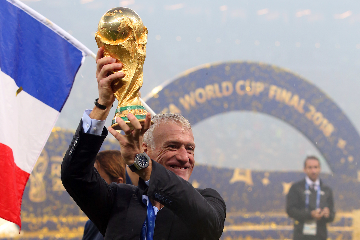 France Manager Didier Deschamps with the trophy at the end of the 2018 FIFA World Cup Final match at Luzhniki Stadium, Moscow Picture by Paul Chesterton/Focus Images Ltd +44 7904 640267 15/07/2018