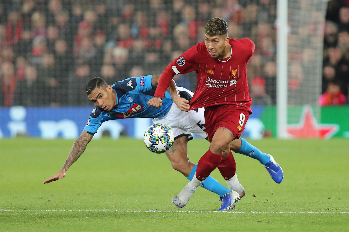 Roberto Firmino of Liverpool and Allan of Napoli in action during the UEFA Champions League match at Anfield, Liverpool. Picture by Michael Sedgwick/Focus Images Ltd +44 7900 363072 27/11/2019