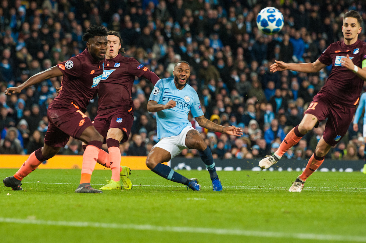 Raheem Sterling of Manchester City wiith a strike on goal during the UEFA Champions League match at the Etihad Stadium, Manchester Picture by Matt Wilkinson/Focus Images Ltd 07814 960751 11/12/2018