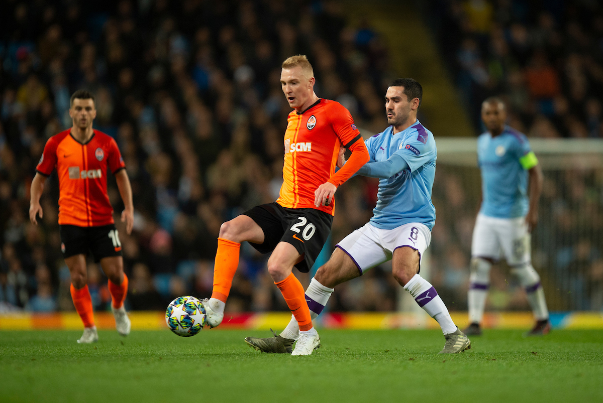 Viktor Kovalenko of Shakhtar Donetsk is closed down by Ilkay Gundogan of Manchester City during the UEFA Champions League match at the Etihad Stadium, Manchester Picture by Russell Hart/Focus Images Ltd 07791 688 420 26/11/2019