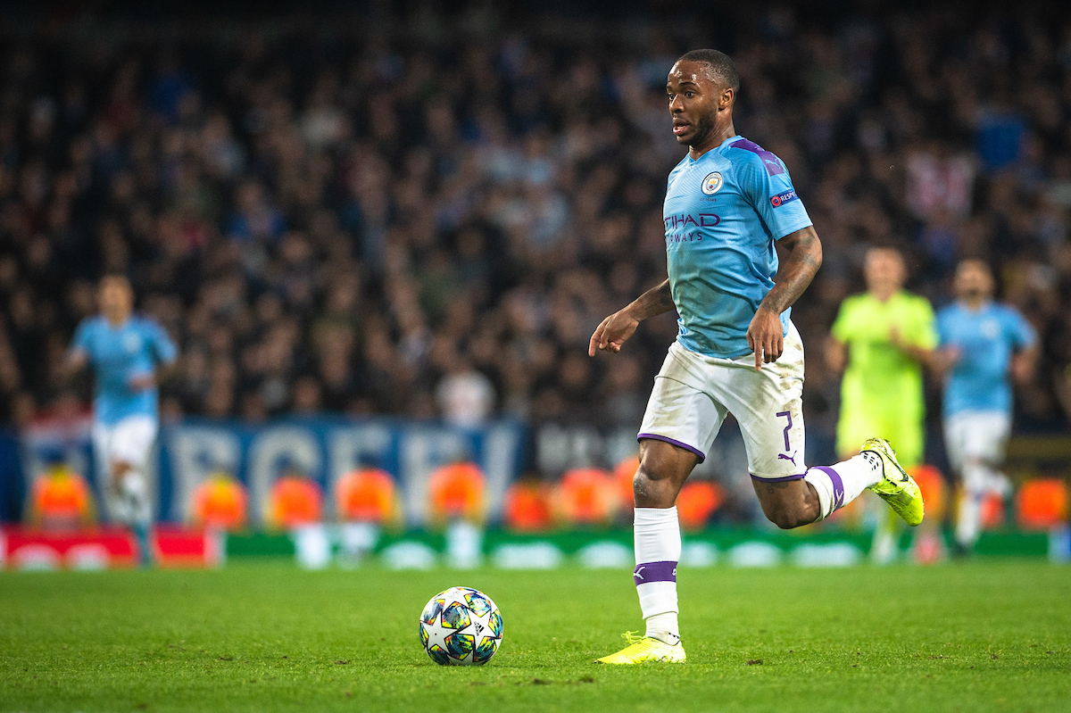 Raheem Sterling of Manchester City pushes forward during the UEFA Champions League match at the Etihad Stadium, Manchester Picture by Matt Wilkinson/Focus Images Ltd 07814 960751 01/10/2019